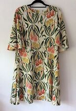 Next Ivory and Pink Floral Dress, UK Size 20 Immaculate