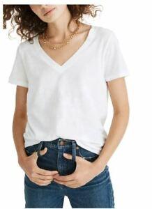 Madewell Whisper V-Neck Cotton Tee Shirt White Small S (2-4) NEW