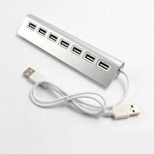 7 Port Aluminium USB2.0 HUB High Speed + Extra Stromversorgungskabel Für Laptop