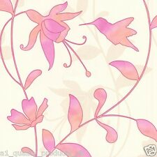 Rasch Wallpaper, Embossed Summer Floral Effect, Pink Orange Flowers, BNIB 451214