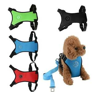 Adjustable Dog Harness Puppy Pet Dogs Vest Safety Car Running Small UK