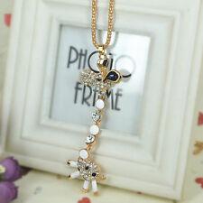 Giraffe Sweater Bead Necklace Rhinestone Crystal Chian Pendant Valentine Gift