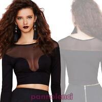 Top donna maglietta inserti velati trasparenti sottogiacca sexy nuovo DL-1625
