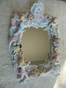 "Meissen Porcelain High Relief Mirror w Cherubs, Angels & Flowers, 12"" X 18"" EX!!"