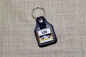 Audi 100 C2 Keyring - Leatherette and Chrome Keytag