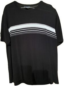 Kenneth Cole Black Striped Pullover Short Sleeve Knit Shirt XXL
