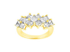2.51ct Diamond Wedding Band Cluster 10k Yellow Gold Princess Cut Prong GH I1