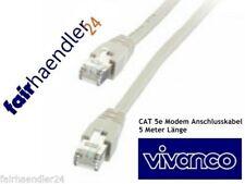 ★VIVANCO 5m CAT 5e PATCHKABEL NETZWERKKABEL DSL KABEL ETHERNET LAN ISDN NETZWERK