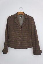 J Crew Womens Wool Blazer Short Length Brown Plaid Lined Sz Medium
