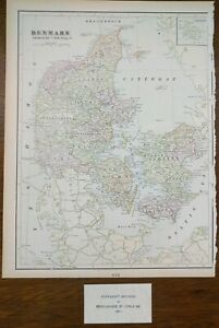 "Vintage 1902 DENMARK Map 11""x14"" ~ Old Antique Original AARHUS COPENHAGEN ODENSE"