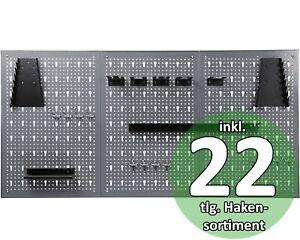 Ondis24 Werkzeugwand aus Metall Lochwand Set mit Haken Halter 22 Teile XXL 120cm