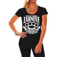 Frauen Damen T-Shirt Zahnfee Faust zum Gruss Schlagring Hardcore Ärger Trouble