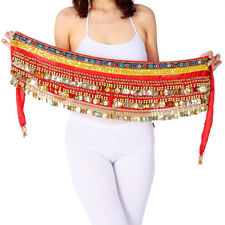 Belly Dancing Hip Scarf Indian Dance Belt Performance Coins&Beads Velvet 10 Colo