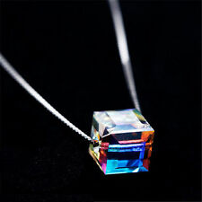 USA Fashion Charm Women Magic Cube Crystal Chain Necklace Pendant Gift Jewelry