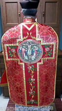 Red Precious Blood Fiddleback w/Roses Chasuble Set+Stole,Maniple,Burse,Veil