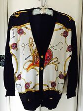 HERMES Silk Knit  Cardigan 5 Gold Buttons signed Long Sleeves Sz 44