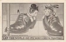 Two Cats We're Together Greetings Postcard - 1911