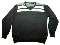 Travis Mathew Mens Gray Striped Long Sleeve V-Neck Sweater Size XL