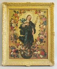 Original Oil Painting AUSTRIAN SCHOOL(18th C.) Virgin Within Wreath  Christian