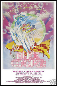 Rock: Alice Cooper at  Portland Memorial Concert Poster 1973   12x18