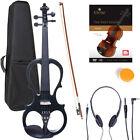 NEW 4/4 Ebony Electric Violin w/Pickup -Black & Style1