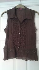 sunny leigh ladies brown sleeveless collar small frill front lace detail size XL