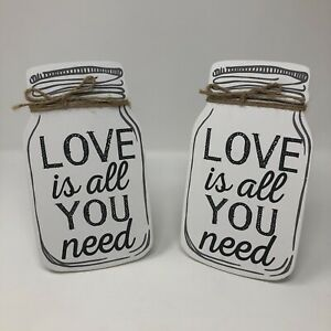 2 Mason Jar Plaque Picture Love Is All You Need Saying Weddings Tabletop White