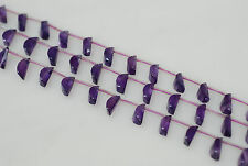 """7x12mm Faceted Nail (""""D"""") Shape Genuine Amethyst Bead"""