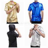 Herren Leder-Optik Kurzarm Kapuzenshirt Hip Hop Hoodie T-shirt Tops mit Kapuze