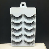 5 Pairs Nautral Long Thick Cross False Eyelashes Handmade Makeup Soft Eye Lashes