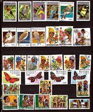 419/147  GUINEE Rep:oiseaux,papillons,jeunes filles et hommes du pays,