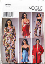 VOGUE SEWING PATTERN 9218 MISSES SZ 6-14 LINGERIE, NIGHTGOWN ROBE CAMISOLE PANTS