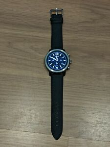 Fossil Q Explorist Gen 3 45mm Blue and Black Leather Smartwatch - FTW4004