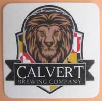 CALVERT BREWING COMPANY Beer COASTER, Mat w/ LION, Upper Marlboro, MARYLAND 2018