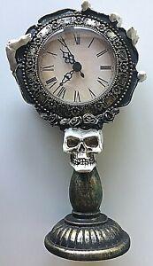 "9.5"" SKELETON HAND Holding GOTHIC Pedestal CLOCK w/ Skull Prop WORKS GREAT!"