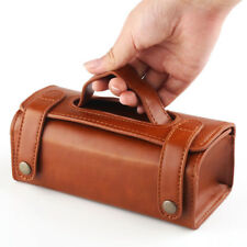 Mens Travel Toiletries Cosmetic Bag Brown PU leather Shaving Wash Toiletry Case