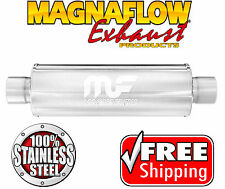 """MAGNAFLOW 10416 Stainless Steel Muffler Straight 4"""" Round Center 2.5"""" ID IN OUT"""