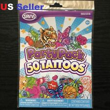 SAVVI 50 Temporary Tattoos Party Pack / Birthday party Made in USA New