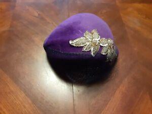 Vintage Purple 1950s Frank M Benson Merrimac Satin Regale Imported Fur Hat