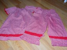 Toddler Size 2T MeMommy & Me Red White Checked Print Outfit Pants & Top EUC