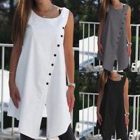Plus Summer Womens Bikini Beach Cover Up Sleeveless Tunic Caftan Vest Top Blouse