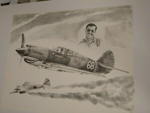 WWII AVG Flying Tiger Ace Charles 'Chuck' Older.  Print by Lonnie Ortega