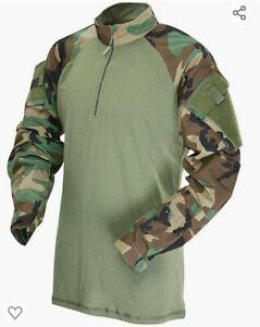 Woodland Camo 1/4 Zip Tactical Combat Shirt by TRU-SPEC 2545 / FREE SHIPPING XS
