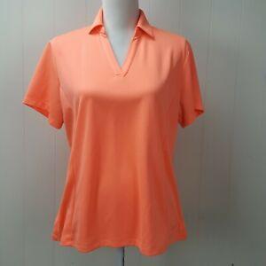 Lady Hagen Polo Golf Top Womens Large L Orange Short Sleeve V-Neck