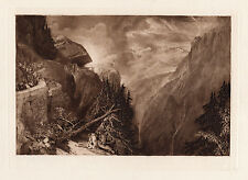 "Sharp William TURNER 1800s Antique Mezzotint ""Stunning View of Aosta Valley"" COA"