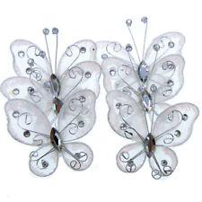 "20Pcs White Organza Wire Rhinestone Glitter Butterfly Wedding Scrapbooking 2"""