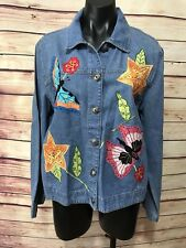 White Stag Women Size M Denim Jean Jacket Butterflies Flowers Applique Button Up