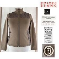 POIVRE BLANC Womens Large Taupe Diamond Topstitch  Smooth Stretch Zip Jacket EUC