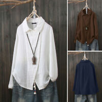 ZANZEA Women Cotton Linen Long Sleeve Tops Button Down Shirt Ladies Loose Blouse