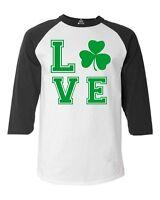 Green LOVE Irish Raglan Baseball St. Patrick's Day Drinking Beer Drunk Shirts